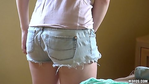 Nice hot pants shorts girl Cammie Fox  reaches down her panties to masturbate