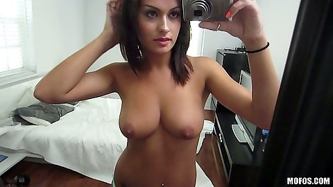Self shot latina Nadia Capri posing topless in front of mirror