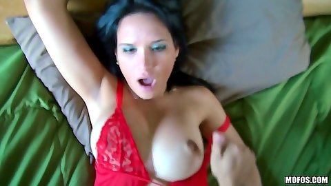 Sexy red bra lingerie latina fuck in pov with Cici Love