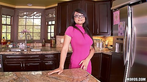 Asian Sophia Jade solo tripping and teasing while undressing in kitchen