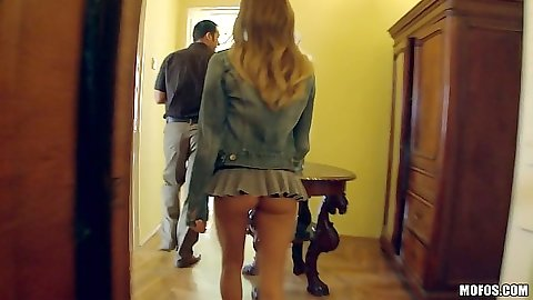 Miniskirt skinny chick Avril Sun kneels down to suck off guy in clothes