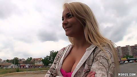Blondie Lana on the street gets picked up for some fun