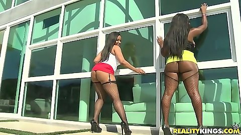 Outdoor ebony big ass booty girls posing Aryana Adin and Jayden Starr