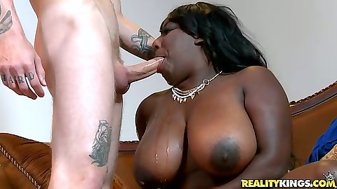 Ebony chick with big i mean huge ass mother fucking tits sucks and titty fuck with Luxury Amore