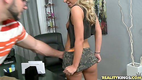 Sexy audition teen rolls up her short skirt in office and shows off pussy
