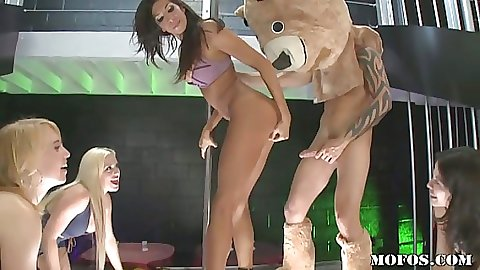 Milf gets fucked around a pole in front of everyone