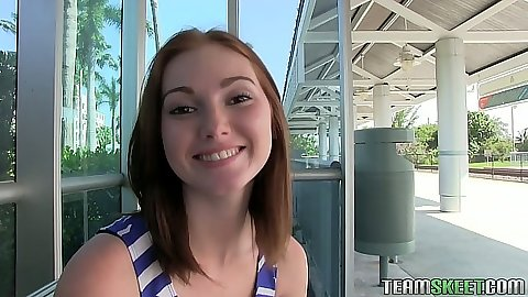 Redhead public teen meet up with Natalie Lust and fingering her with pov