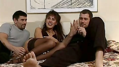 Suzanna Q euro threesome sucking and fucking from behind