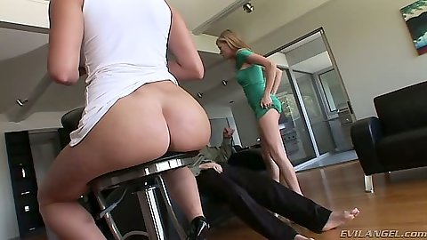 Group ass on stool hanging off and blowjob from Nicole Ray and Miley Ann