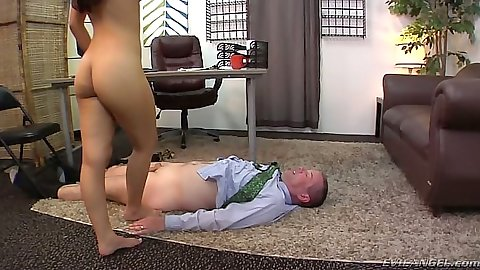Petite latina Nicole Ferrera sits on dick and makes guy lick her feet