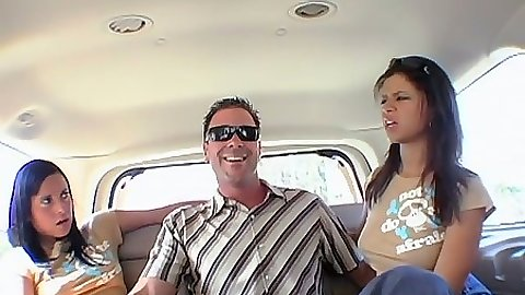 Backseat blowjob and handjobs with fully clothed Natalia Woods and Dasani