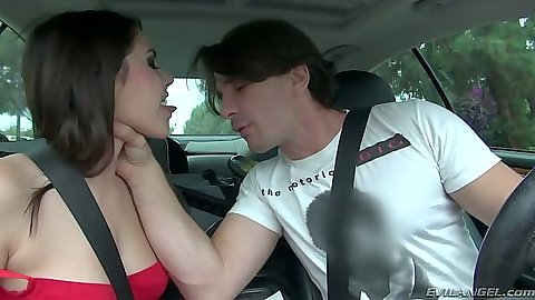 Brunette Valentina Nappi blowjob while driving in the backseat
