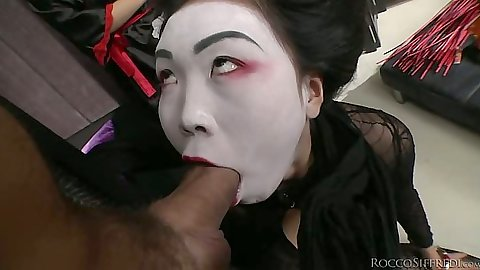Asian costume threesome with  Cayenne Klein and Nicoline