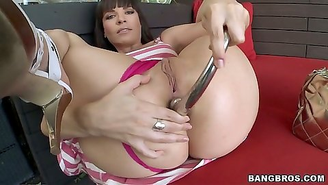 Anal dildo solo masturbation from Dana De Armond giving self a gaping anus
