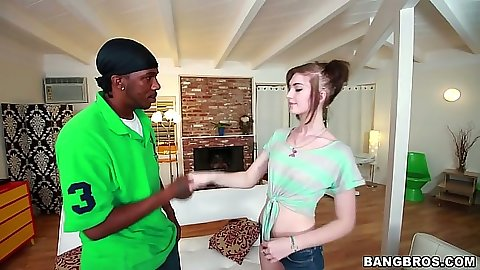 Black cock white girl blowjob with Alana Rains barely getting it in her mouth