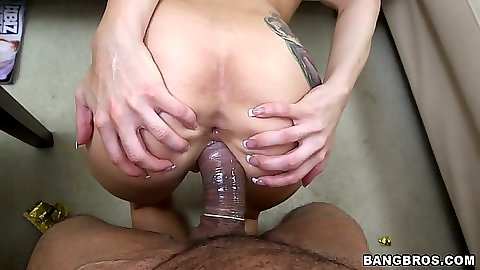Ass spreading black cock white pussy sex with brunette in tattoo Alexa Aimes