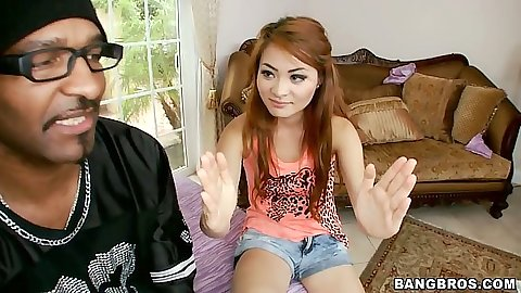 Interracial teen talking with petite Kim Blossom