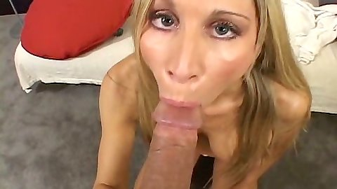 Big dick blowjob with skinny blonde and her fake tits