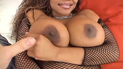 Fishnet ebony big tits girl sucking dick in pov with fake tits
