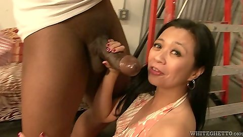 Fat black cock for tight asian mouth whore Lucky Starr