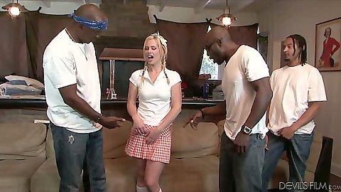 Petite white girl Tara Lynn Foxx joins big black cock gang bang group