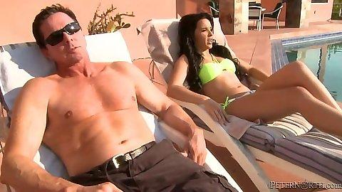 Outdoor bikini all natural skank tanning Natalie Heart