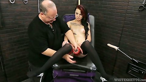 Melly Winters machines fetish fuck with skinny chick