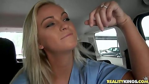 Backseat milf nurse going for a ride