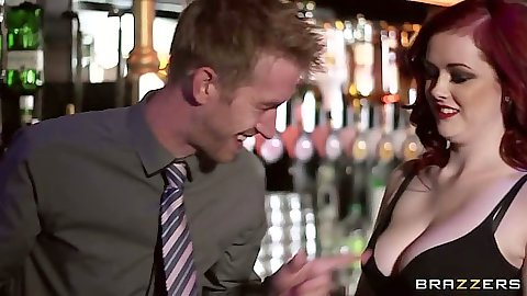 Redhead busty Jaye Rose makes out with dude by the bar