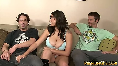 Threesome ganging up on Raylene in her bra