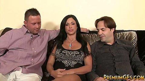 Brunette fully clothed Jewels Jade talks with 2 men