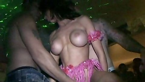 Fingering dancing party girls with others watching in group