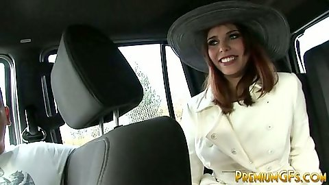 Brunette backseat girl in a strange het Izy-bella Blu