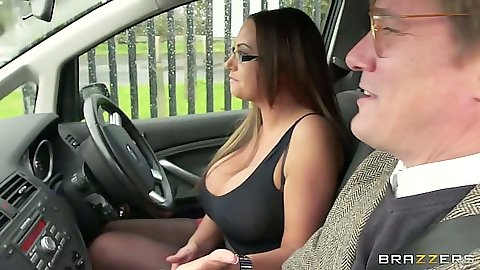 Brunette big tits Emma Butt taking a drive in car