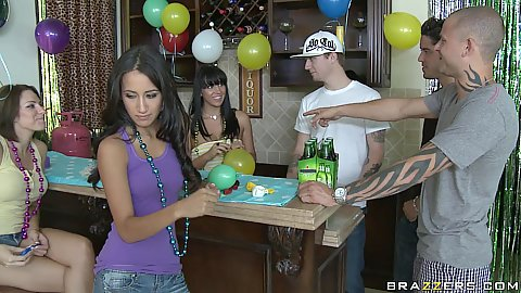 Teens having a party and invited Scott with his large cock