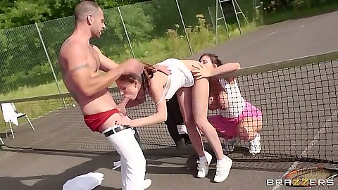 Blowjob on the tennis court with lesbian ball loving sluts Abbie Cat and Yuffie Yulan