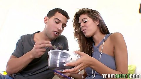 Rolled up skirt on fully clothed girl Isis Taylor titty fart