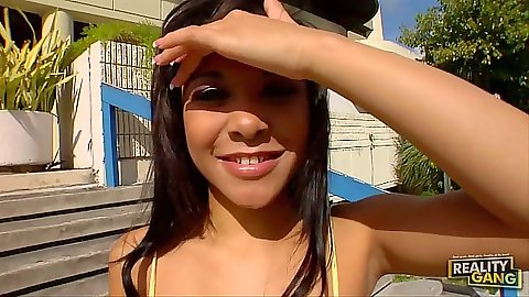 Teen outdoor in public on the street is a delinquent Jaslin Diaz