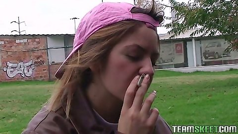 Smoking bad girl homeless teen whore Andrea Abrego goes with us for money