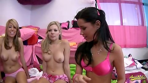Group of sexy lesbians in bras and panties gather up in behind the scenes with Nikita Von James