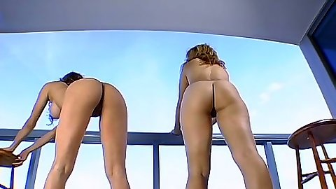 Posing and bending over nice ass lesbians Cherrie Rose and Renae Cruz