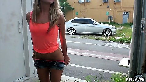 Solo girl Kiara Knight flashing her pussy in public