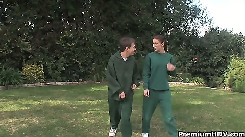 Athletic milf Brandi Lyons approached int he park for some active sex outdoors