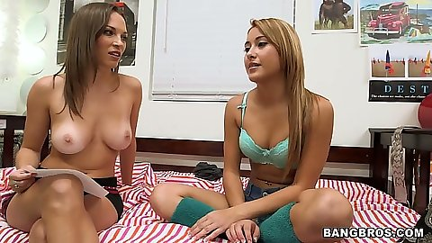 Two lesbian girls teens Marina Angel and Lily Love