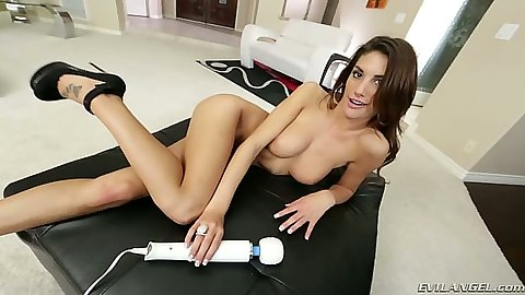 Solo vibrator medium tits softcore girl fun with August Ames