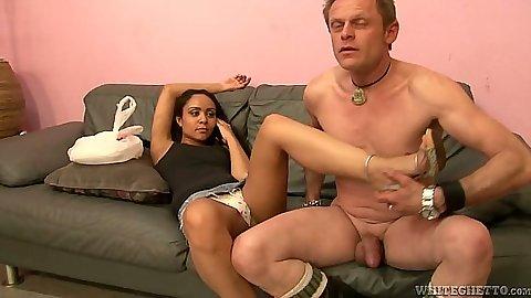 Latina Jaslin Diaz gets feet loved in cfnm then takes off her panties