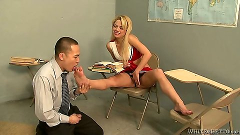 Cheerleader in uniform gets feet licked by teacher with Charity Love