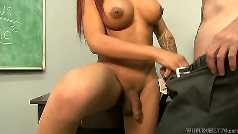 Transsexual Nody Nadia goes down on teachers dick