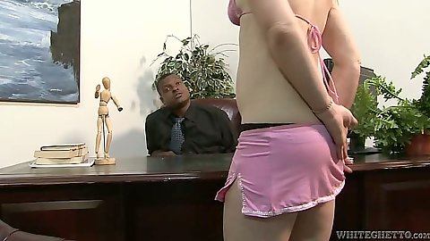 Interracial milf office big dick sucking
