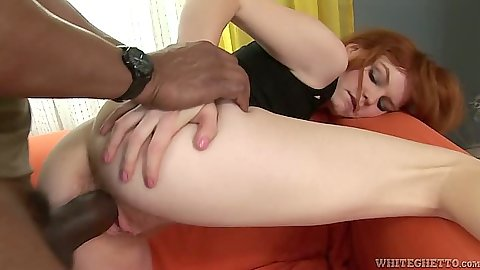 Black cock white slut ass licking and hairy pussy sex with redhead Barbara Babeurre